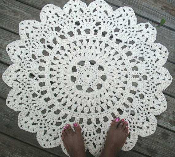 White Off White Or Black Cotton Crochet Doily Rug 30