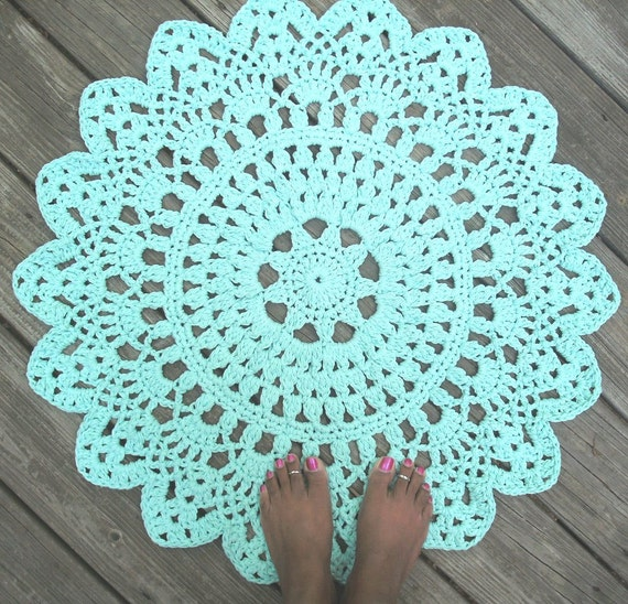Items Similar To Robins Egg Blue Cotton Crochet Doily Rug