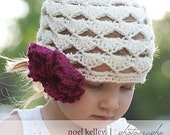 Scalloped BOUQUET BEANIE Boutique Cream Skull Hat Crochet with 6 Interchangable CARNATION flowers-Upick Size- Great Photo Prop