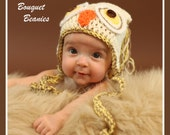 OWL Bouquet Beanie Earflap Cream Hat with Mocha Trim and Ties Crochet- Upick Size - Great Photo Prop