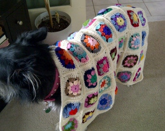 Handmade GRANNY SQUARE Crocheted Blanket Afghan for Baby Gift or Pet Beds