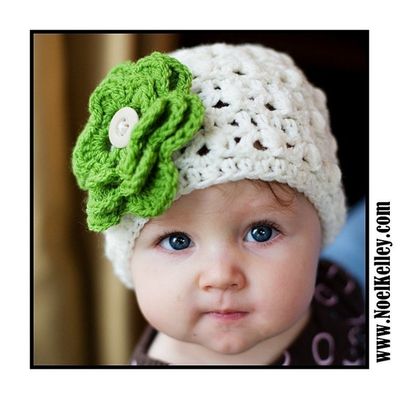 Twisted BOUQUET Beanie Cream Beanie Skull Hat Crochet with 7 Interchangable flowers- Upick Size- 5 SIZES... Great Photo Prop