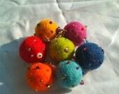 Bouncing Balls of Joy Bracelet / Felt  Wool Beads Bracelet