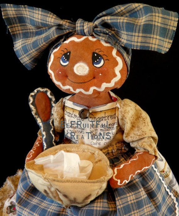 Primitive Gingerbread Doll Kleenex Box Cover E Pattern
