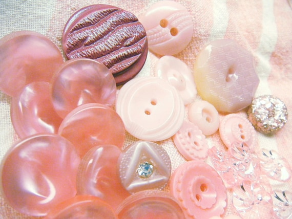 Vintage Buttons Pink Plastic Lot of 27 Pieces