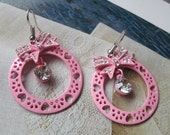 PIF-Pink enamel wheel, ribbon and rhinestone earrings