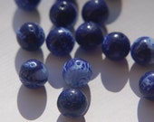 Vintage Cobalt Blue and White Glass Beads bds932