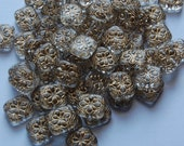 Crystal with Gold Etched Floral Acrylic Tablet Beads bds380L