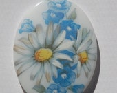 Vintage Blue and White Daisy Flower Glass Cabochon 40x30mm cab687