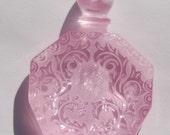 Vintage Soft Pink Etched Faux Perfume Lucite Bottle Pendant  pnd064