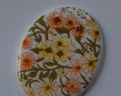 Yellow and White All Over Floral Cabochon 40x30mm cab010