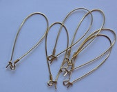 Vintage Gold Plated Large Elongated Kidney Wires fnd012A