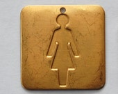 Raw Brass Lady Symbol Square Charm Pendant 29mm (2) mtl064