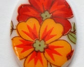 Vintage German Red and Orange Glass Flowers Cabochon 25x18mm cab257A
