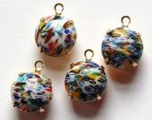 Vintage White Millefiori Glass Stones in 1 Loop Brass Settings rnd004C