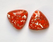 Vintage Triangle Glass Cabochon Orange Silver Foil Japan (2) cab367A