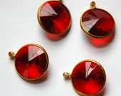 Vintage Ruby Red Acrylic Rivoli Channel Set 18mm 1 Loop Drops chr156G