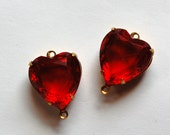 Ruby Red Glass Heart  Connectors in 2 Loop Brass Setting 15mm hrt001A2