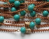Vintage Dark Turquoise Blue Glass Beaded Chain Japan chn058