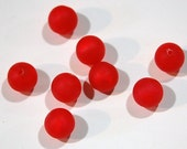 Vintage Matte Red Acrylic Moonglow Like Beads 8mm bds274