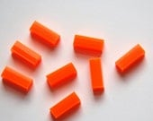 Vintage Orange Rectangle Plastic Florescent Beads bds494A