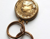 Vintage Brass Key Fob with Goddess Woman Detachable Key Rings mtl365
