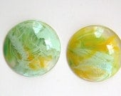 Clear with Yellow Green White Swirled Vintage Cabochons 30mm (4) cab801B