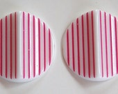 Vintage Acrylic Pink and White Striped Pinched Retro Cabochons cab798C