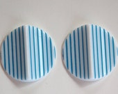 Vintage Acrylic Blue and White Striped Pinched Retro Cabochons cab798F