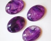 Vintage Purple White Clear Swirled Acrylic Cabochons 25x18mm cab802A