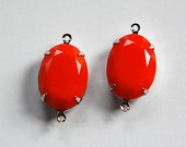 Vintage Opaque Orange Faceted Stone in 2 Loop Silver Setting ovl004P2