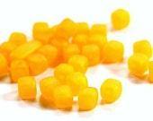 Vintage Lucite Matte Golden Yellow Cube Beads  bds274E