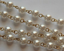 Vintage White 8mm Pearl Beaded Chain 3 Feet chn041