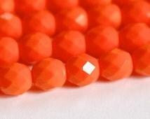 Czech Opaque Orange Faceted Glass Beads 8mm (20) czh001H
