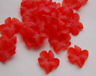 German Lucite Flowers Beads Matte Red (6) bds873C