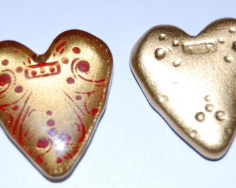 Vintage Gold with Red Details Acrylic Heart Cabochon cab222