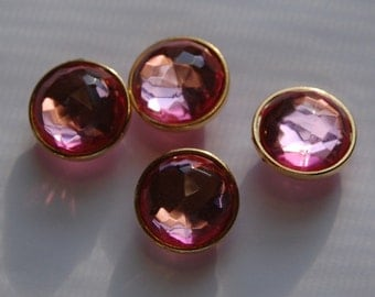 Pink Round Faceted Lucite Channel Set Beads Japan bds994C