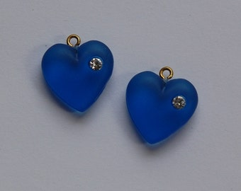 Vintage Matte Blue Heart Charm with Rhinestone chr104B