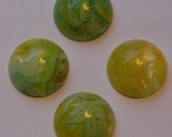 Vintage Yellow Green and White Swirled Cabochons 18mm cab391D