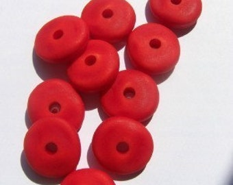Vintage Red Lucite Uneven Beads bds176C