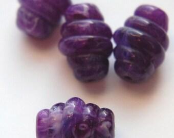 Vintage Purple White Swirled Ribbed Chunky Acrylic  Beads bds926E