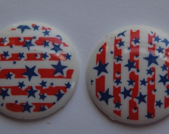 Red White and Blue Stars Plastic Cabochon cab016G
