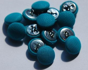Vintage Light Teal Blue Silk Buttons 13mm btn003A