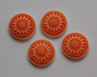 Orange and White Glass Daisy Flower Cabochon 14mm cab671B