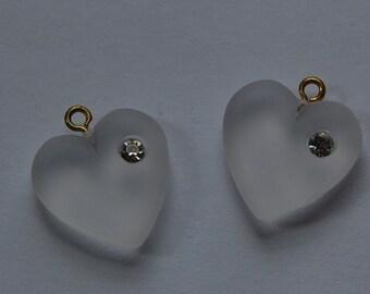 Vintage Matte White Heart Charm with Rhinestone chr104F