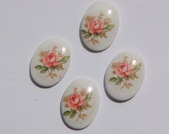 Vintage Pink Rose Oval Glass Cabochons Japan 18mm x 13mm (4) cab424