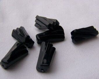 Vintage Black Licorice Twist Beads bds106A