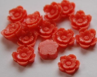 Vintage Style Coral Carved Look Flower Cabochon (6) cab354C