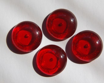 Vintage Red German Glass Cabochons 20mm cab247F