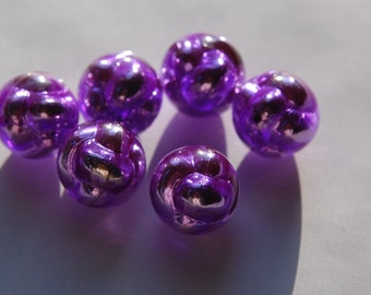 Vintage Metallic Purple and Silver Unusual Plastic Beads 18mm bds108G